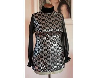 1960's Silver Lurex Black Chiffon Mod Go Go Tunic Mini Dress