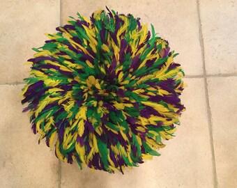 Small juju hat Mardi Gras colors   #1004