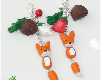 Fox gift charm or polymer clay beads handmade for Christmas Yule