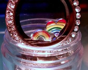 Rainbow Floating Charms-Rainbow Memory Charms-Origami-Living Locket-Keepsake Locket-LGBT Jewelry-Glass Locket-Locket-