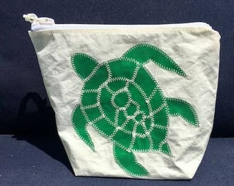 Sunblock Bag -Green Turtle - Made from Recycled Sail