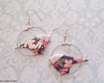 Jewelry, origami earrings origami bird traditional creole, Japanese paper jewelry