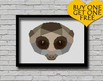Cross Stitch Pattern Polygonal Slow Loris Face Printable Pattern Modern Decor Xstitch Wall Art Diy Geometric Animal Primate Portrait Pattern
