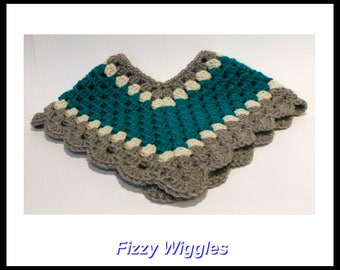 Baby Poncho/crocheted/3-6 months/handmade/green/grey/white/baby girl/girl clothes/baby photo prop/children/baby shower gift/gift/new mom/
