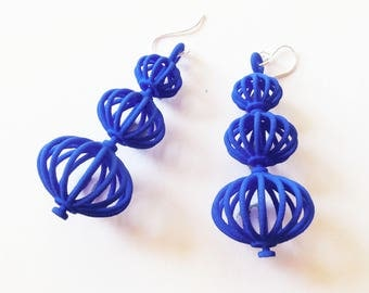 Topiary - Blue 3D Printed Earrings  - they spin!