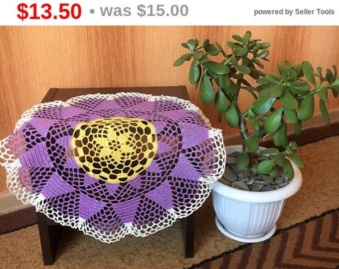Central napkin round doily crochet table decoration openwork doily crochet decor crochet crochet gift swipe 100% cotton. Lilac napkin.