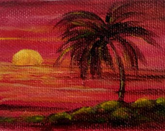 ACEO Original acrylic painting  teens gift  for boyfriend abstract painting Artist Trading Card Sunset painting fine art  sky art  painting
