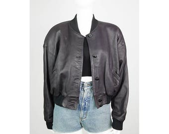 Casual Vintage leather bomber jacket