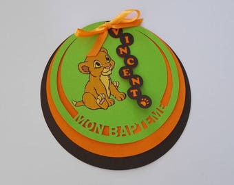 "Set of 25 invitations round ""My baptism"" lion king"