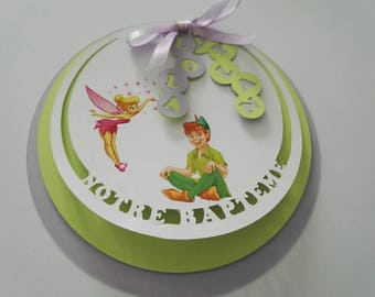"Set of 10 invitations round ""My baptism"" Tinkerbell and Peter pan"