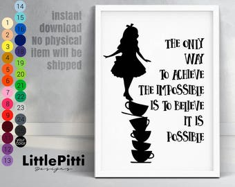 Disney Alice in Wonderland, Alice in Wonderland Quote, Lewis Carroll, Wonderland theme, instant download, disney nursery, disney quote print
