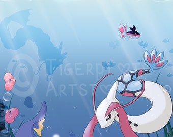 "Postcard ""Summer Time"" with Milotic, Gyarados, Finneon, Lanturn, Clamperl and Luvdisc"