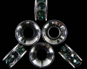 6 10mm silver plated rhinestone rondelle beads green findings 18865
