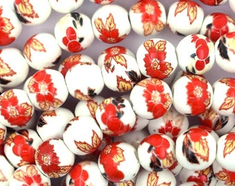 "8mm flower porcelain round beads 14"" strand red 36908"