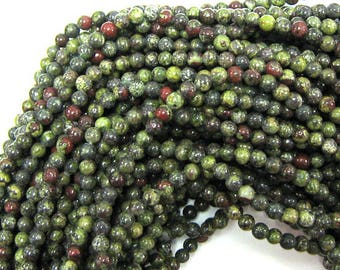 "4mm dragon blood jasper round beads 15.5"" strand 33933"