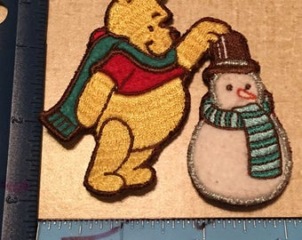 Winnie The Pooh Building a Snowman Embroidered Patch