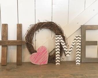HOME letters with grapevine decor, Farmhouse decor, Rustic decor