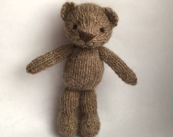 Knitted mini brown teddybear for newborn photo props, knitted toy
