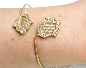 Hamsa Wire Bangle, Nazar Bracelet, Evil Eye Jewelry, Hand of Fathima Bracelet,  Five Fingers Jewelry, Kaballah, cz Zircon, Rhinestone bangle