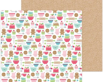 "TWO SHEETS of Doodlebug Design Christmas Milk & Cookies Collection Scrapbook 12"" x 12"" Santa's Sweets Double Sided Cardstock Paper"