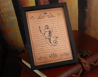 Copper ACEO, copper ATC, copper plaque, The Mermaid, fantasy ACEO, copper art, copper collectible, steampunk art, copper art, collectible