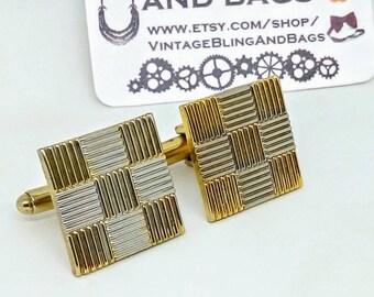 18mm 1970s Vintage cufflinks, vintage cufflinks, square cufflinks, vintage wedding cufflinks, bridegroom's cufflinks, wedding cuff links,