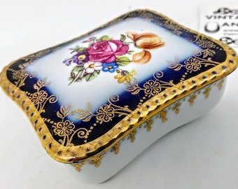 68x56x30mm VINTAGE ceramic box, vintage ceramic box, gilded vintage trinket box, jewelry storage, chintz ceramic box, chintz Trinket box