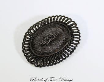 Antique Georgian Victorian Silesian Wirework Black Mesh Iron Brooch Mourning? 1800s