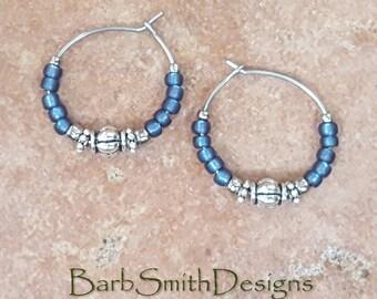 """Beaded Blue Denim and Silver Stainless Steel Hoop Earrings, Small 3/4"""" Diameter"""