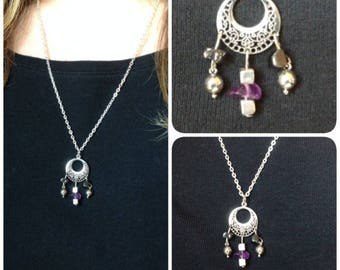 Necklace in amethyst and hematite