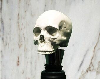 Skull Wine Bottle Stopper, White