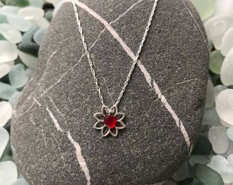 "Sterling Silver ""Ruby Red"" Minimalist Necklace from my Tiny Beauty 2018 Collection. Lotus Flower. Handmade in the UK. Free UK Delivery."