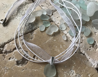 Bride and Bridesmaids Necklaces. Genuine English Sea Glass Pendant on white Organza Necklace. Handmade in the U.K. Free U.K. delivery.