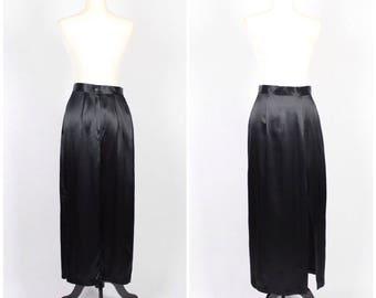 90's VTG Black Satin High-Slit Floor Length Skirt