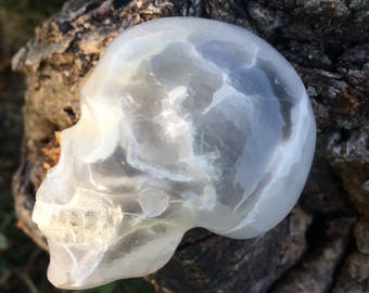 Natural Selenite Crystal Skull