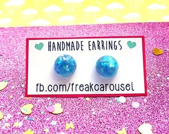 Blue circle earrings ~ pastel ice resin druzy dome studs