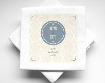 10 napkins wedding personalized fabric baroque pattern