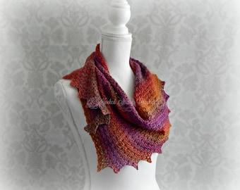 Crochet ladies shawl, Orange Women's Wrap, Asymmetrical shawl, Winged Shawl, Ladies cover up, Purple shawl, Wool Shawl, Crescent Shawl
