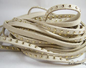 1 m cord flat faux suede studded color BEIGE 5 mm