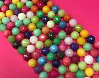 8mm Rainbow Jade Faceted,Multi Color Jade, Jade Faceted Beads,Multi Color Jade, Jade Beads, Jade Faceted,Multi Color Jade, Jade Stones, Jade