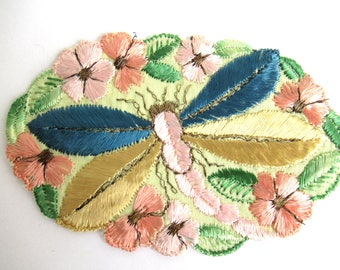 Dragonfly Applique, 1930s vintage embroidered dragonfly applique. Vintage patch, sewing supply. Applique, Crazy quilt.#6A8G43KB