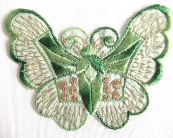 Green silk butterfly applique 1930s vintage embroidery Sewing supply. #6A8G43KB