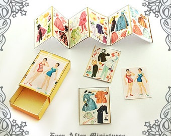 NATALIE Dollhouse Miniature Paper Doll Set – 1:12 Vintage Miniature Match Box DIY Paper Doll Retro Paper Doll Matchbox Printable DOWNLOAD