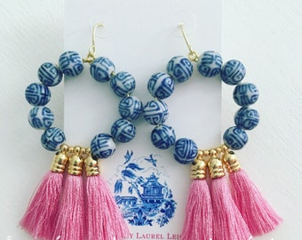 Chinoiserie Tassel Hoop Earrings | LIGHT PINK, blue and white, hoops, pink, gold, Designs by Laurel Leigh