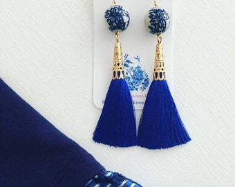 Royal Blue Tassel Earrings | Chinoiserie, blue and white, lightweight, long, Designs by Laurel Leigh, floral