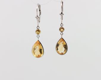 Round And Pear Citrine Leverback Dangle Earring Set In 14K White Gold