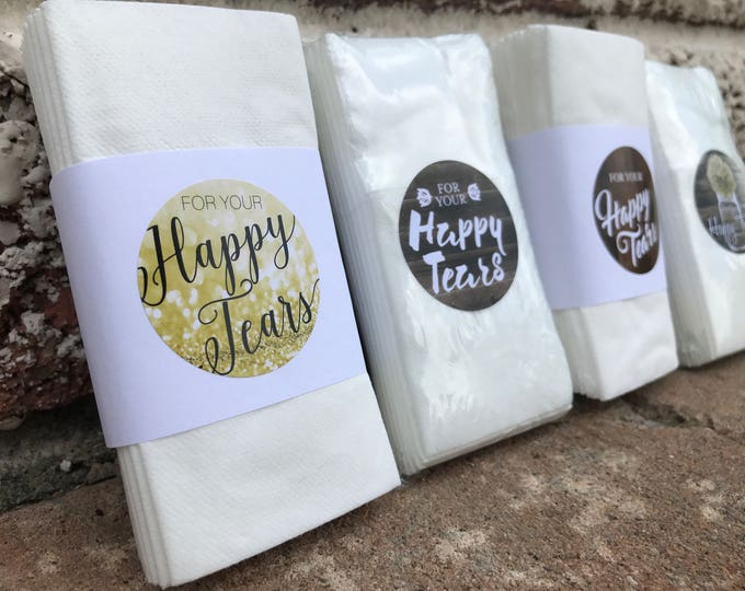 Tissue Pack Stickers, Labels, Monogram, Matching, Happy Tears, Elegant, Rustic, Vintage, Shabby Chic, Boho, Wood, Gold, Barn Wood