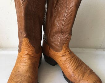 Orange men's cowboy boots from real ostrich leather, embroidered vintage style western style country old boots retro men's has size-12 D.