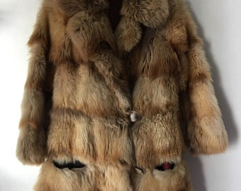 Burningman Style Long Vintage Brown Genuine Red Fox Fur Coat Woman Size Small .