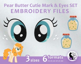 My Little Pony - Pear Butter Cutie Mark & Eyes SET - Embroidery Machine Design